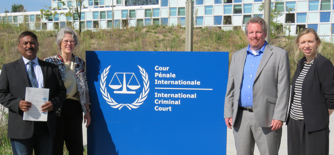 Director Ann Buwalda together with Jubilee Campaign Netherland's representatives in front of the ICC (International Criminal Court in the Hague)